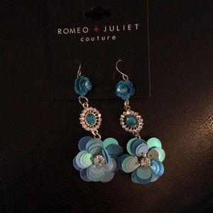 Romeo & Juliet 3 tier Teal Blue Earrings